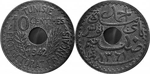 Tunisia  1942 10 Centimes       0186