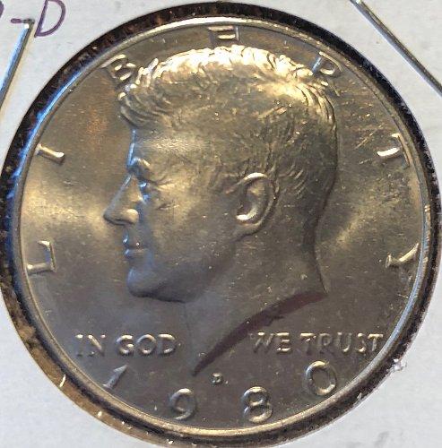 1980 D Kennedy Half Dollars