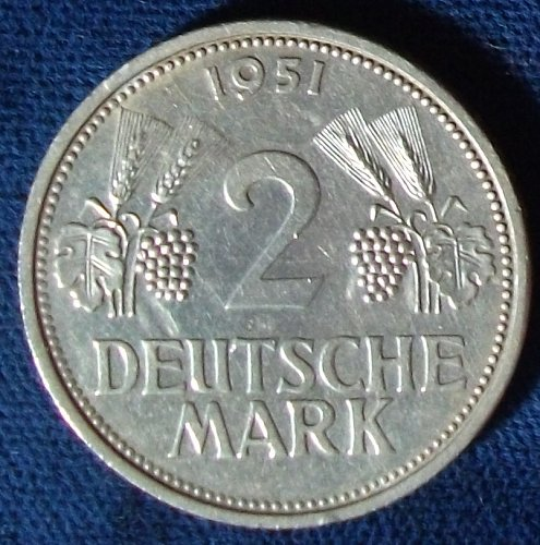 1951D Germany/Fed. Rep. 2 Marks AU Details