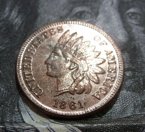 1861 About uncirculated Indian Cent AU Beautiful Coin lots of Red ( #19033 )