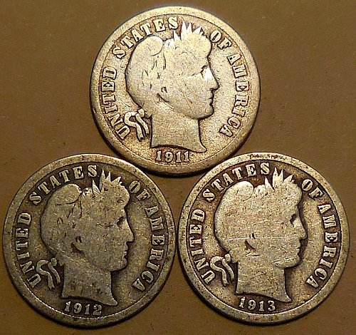 Barber Dimes Three 90% Silver 1911 1912 1913
