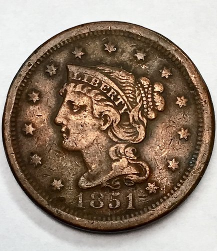 1851 Large Cent - Normal Date