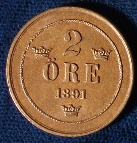 1891 Sweden 2 Ore AU+