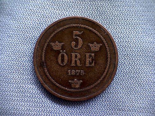 1875 SWEDEN FIVE ORE