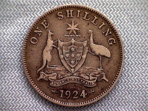 "1924 m&sy AUSTRALIA ONE SHILLING  ""SILVER"""