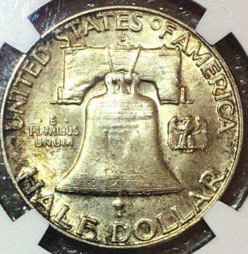 1959-D 50C MS 64 Full Bell Line (FBL) Franklin Half Dollar