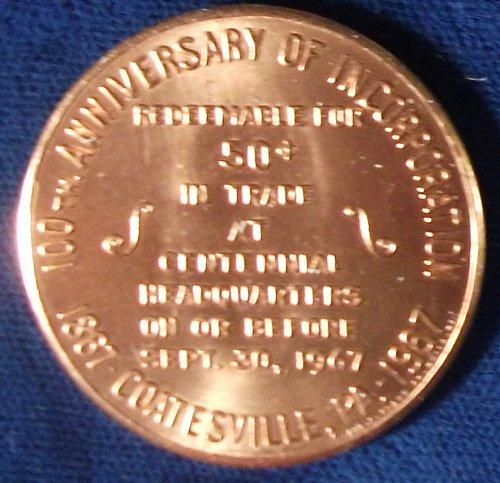 1967 Coatesville, PA Centennial Souvenir Half Dollar