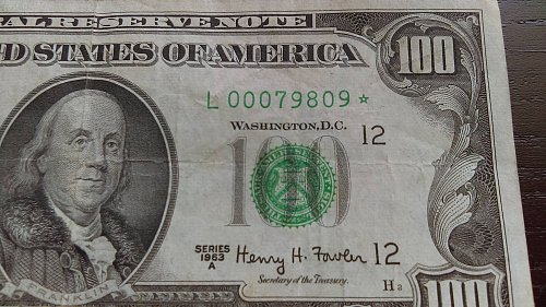 *** SUPER OLD STAR NOTE 1963 A $100 LOW SERIAL ***