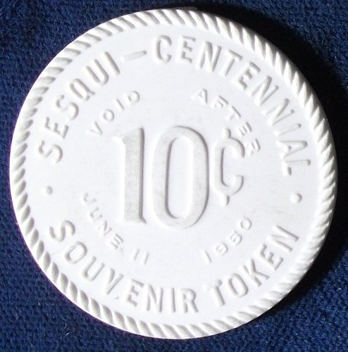 1950 Lancaster and Fairfield Co. Sesquicentennial, Ohio Good For 10 Cents