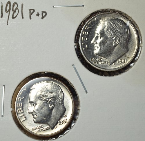 1981 P and D Roosevelt Dimes - 2 coin set BU