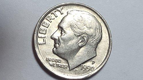 1990 - P Roosevelt Dime 10c Obversed Off-center Mint Error