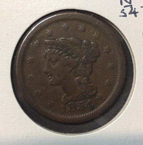 1854 Large Cent N-12 Fine