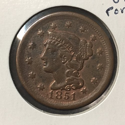 1851 Large Cent VF Details