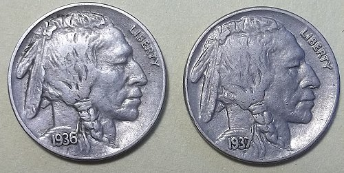 "2 ""P"" Minted  Buffalo Nickels Lot BNK4"