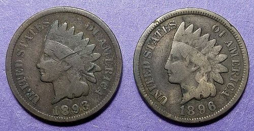 2 Indian Head Pennies Lot JUIHpee
