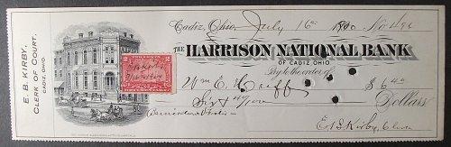 1900 Harrison National Bank, Cadiz, OH, Clerk of the Court Check