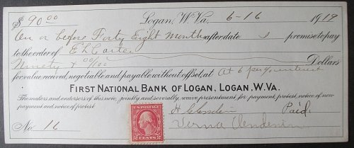 1919 First National Bank of Logan, WV Promissary Note