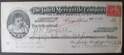 1899 The Isdell Mercantile Company, Pony, Montana, Elling State Bank, Virginia C