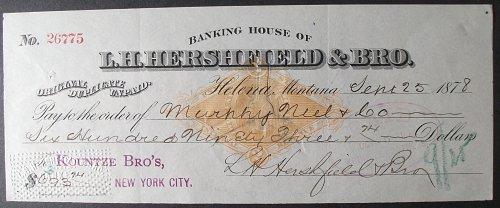 1878 Banking House of L. H. Hershfield & Bro., Helena, Montana Territory Check