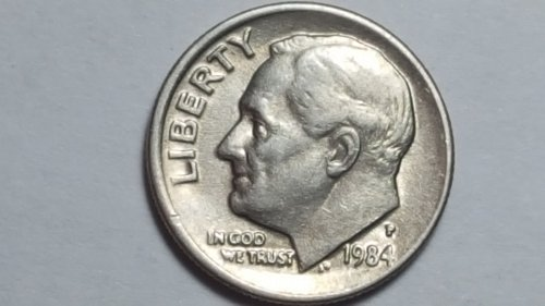 1984 - P Roosevelt Dime 10c Obverse Broad strike Double Die Off-center Mint Erro