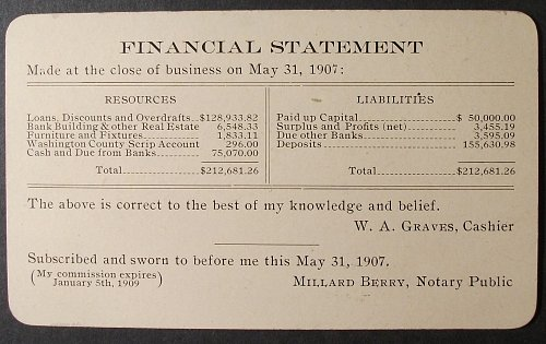 The Bank of Springdale, Arkansas, 1907 Financial Statement/Business Card