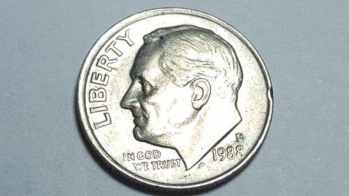 1988 - P Roosevelt Dime 10c Obverse Off-center Reverse Double Die Mint Error