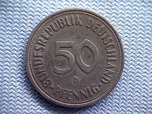 1950 D GERMANY FIFTY PFENNIG