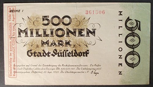 1923 Dusseldorf, Germany 500 Million Marks VF