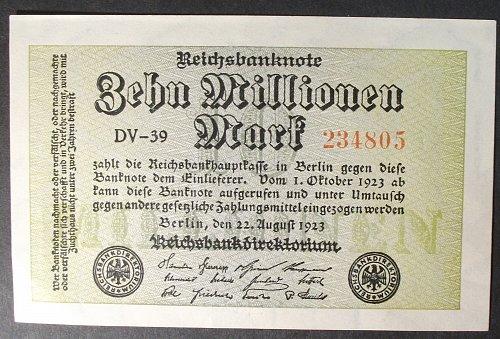 Germany P106a 10 Million Mark XF