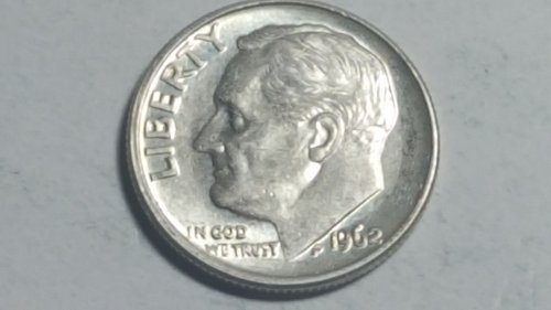 1962 P Silver Roosevelt Dime with Reverse Die Crack Error Uncirculated