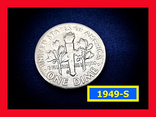 """1949-S Roosevelt Dimes   ☆ """"VF""""  Condition   ☆   (#3784)a"""