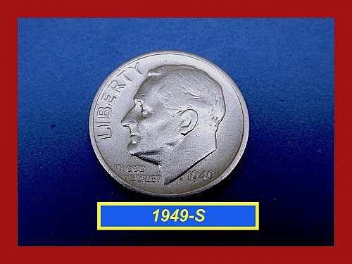 "1949-S Roosevelt Dimes   ☆ ""VF""  Condition   ☆   (#3669)a"