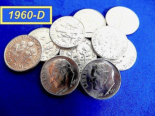 """1960-D Roosevelt Dimes   ☆ """"MINT STATE""""   ☆   (#3946a)a"""