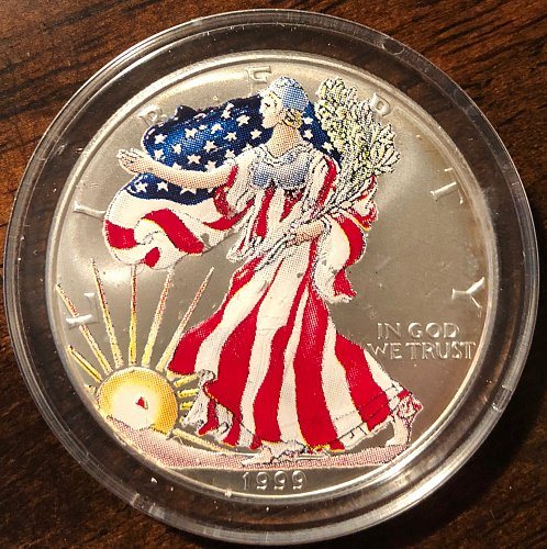 1999 Painted American Eagle Silver Dollar