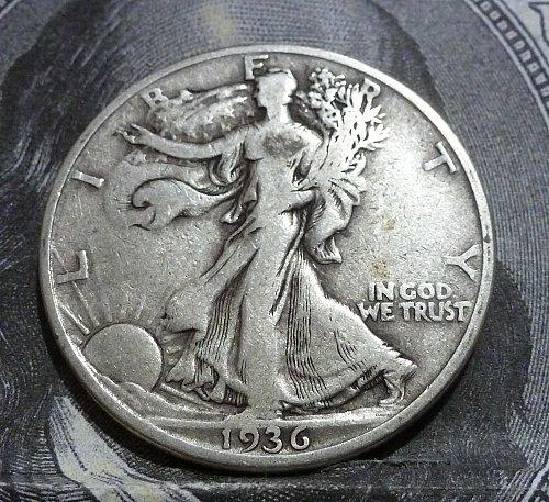 1936 D Walking Liberty Half Dollar Grades Fine # 19203