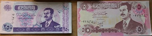 A Piece Of Personal History. Saddam Hussein Bucks! 5 and 250 Dinars Denomination