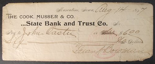 1897 State Bank and Trust Co., Muscatine, Iowa Check