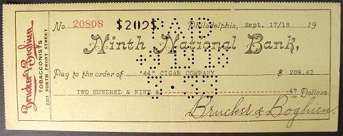 1918 Ninth National Bank, Philadelphia, Check, Brucker & Boghien Tobacconists
