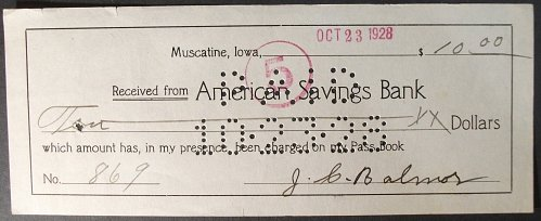 1918 American Savings Bank, Muscatine, Iowa Bank Receipt