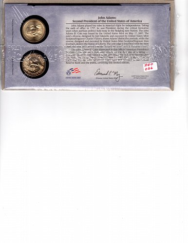 2007 P&D JOHN ADAMS PRESIDENTIAL DOLLAR COIN SET