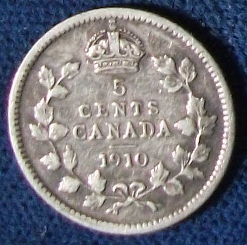 1910 Canada 5 Cents VF