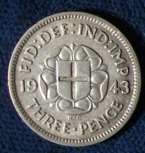 1943 Great Britain Threepence XF #2