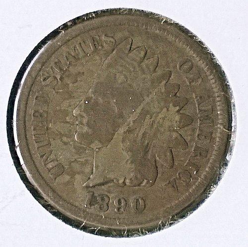 1890 P Indian Head Cent - 4 Photos!