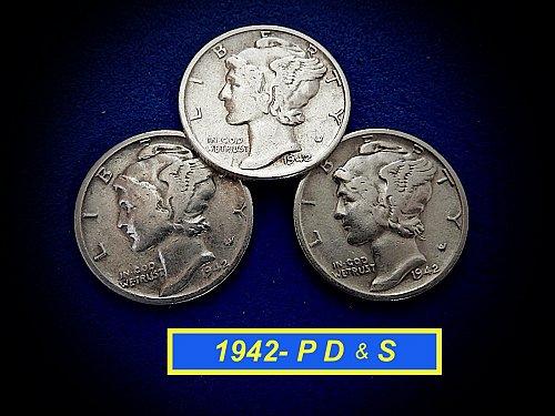 "1942 YEAR SET ☆ 'P' 'D' & 'S' Coins ☆ ""Circulated"""" ☆  (#3977)a"