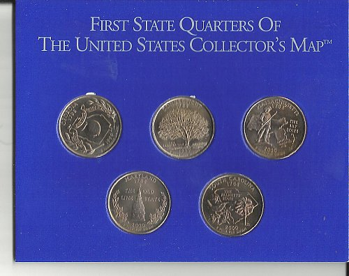 1999  1P & 4D's  GOLD PLATED  SET,  ALL 5 STATES  -  5 COINS