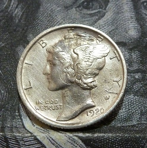 1920 S XF Mercury Dime Grades Extra Fine with issues ( 18749)