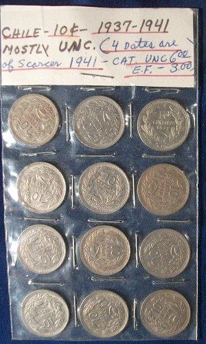 12 Chile 10 Centavos 1937-41