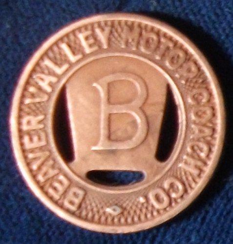 Beaver Valley Motor Coach Co. Fare Token, Pennsylvania