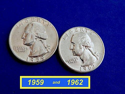 """1959-P & 1962-P Quarters ☆  """"XF-40"""" ☆ (#2128)a"""