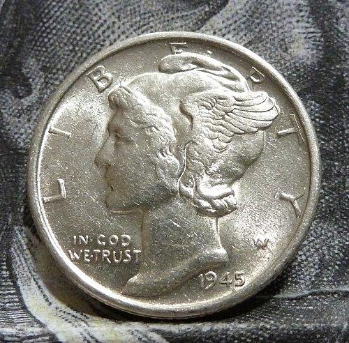 1945 S AU Mercury Dime Grades AU ( 18813 )